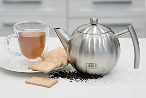 Venoly Stainless Steel Tea Pot With Removable Infuser For Loose Leaf and Tea Bags, Dishwasher Safe and Heat Resistant