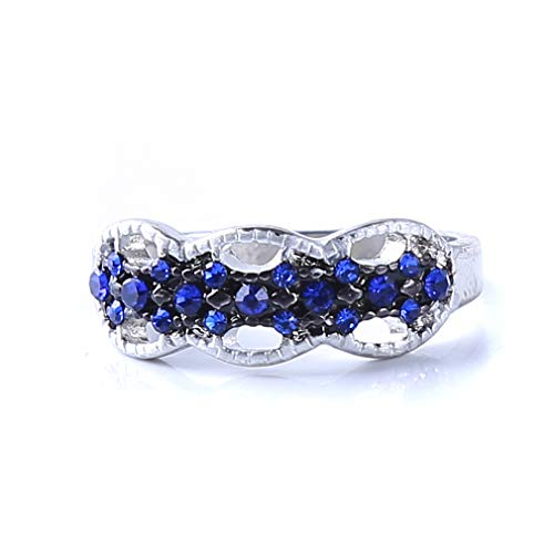 Yunzee Women Sapphire Embed Ring Multiple Diamonds Blue Crystal Gemstone Classic Minimalist Daily Ring Jewelry Gift,Blue,(9#) Anniversary Blue Sapphire Ring