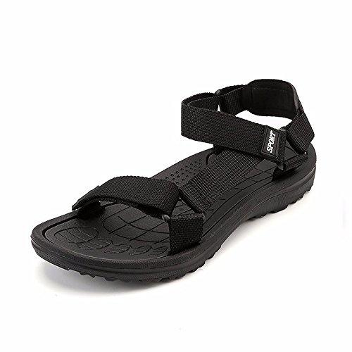 Sommer die neuen Männer Schuhe Trend Outdoor Beach Sandals Open Toe Rome Schuh Männer Non-Slip leisure Sandalen, schwarz, US = 8.5, UK = 8, EU = 42, CN = 43
