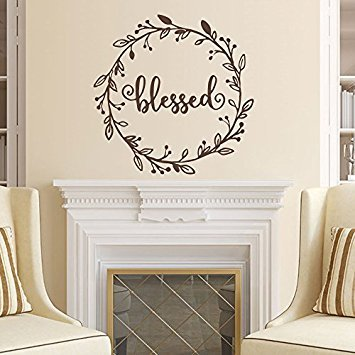 Wall Decal Decor Blessed Hand Drawn Wreath Vinyl Wall Decal Rustic decal Thanksgiving decor Holiday decor Thankful Grateful Blessed Wall Art(Black, 16
