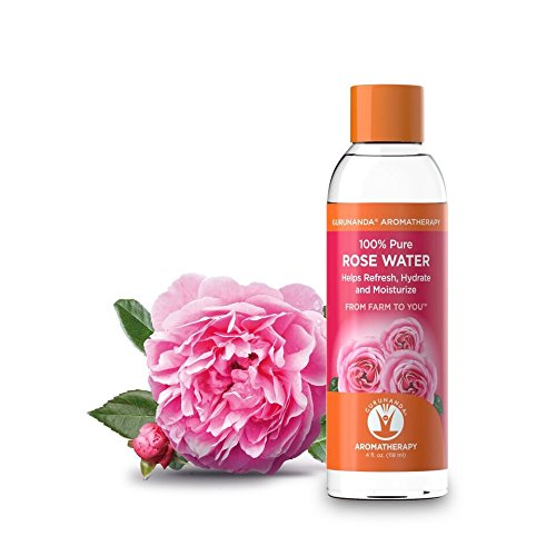GuruNanda 100% Pure and Natural Rose Water - Rosewater Hydrosol - Helps Refresh, Hydrate, and Moisturize. Beautiful Fresh Fragrance - Perfect Facial Glossier & Skin Toner & ()