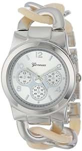 Geneva Women's 2379-Silver/Horn-GEN Oversized Interlocked Chain Band Watch