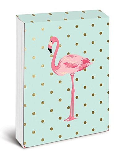 Graphique Flamingo Pink Pocket Notes - Pocket Notebook with Embellished Gold Foil Polka-Dotted Flamingo Print and Matching Magnetic Lid Case, 75 Full Color Pages, 3