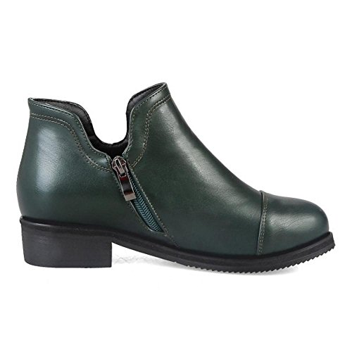 Damenmode Size Extra 6009 TAOFFEN Green Zipper Bootie Fq1vaP