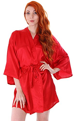 Women's Lightweight Short Classic Silk Satin Bridal Lounge Robe Bathrobe, Red (Womens Red Kimono)