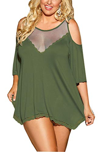 IYISS Plus Size Sexy Lingerie Babydoll Sleepwear Night Shirt (XL, Army Green) (Size Plus Army Lingerie)
