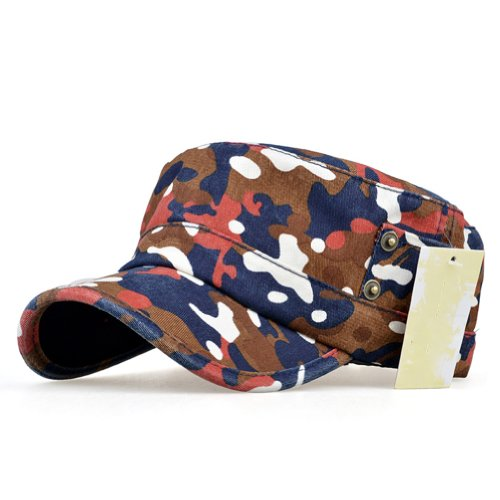 LOCOMO Camo Camouflage Army Military PU Leather Brim Flat Hat Cap FFH186ORN by LOCOMO Hats