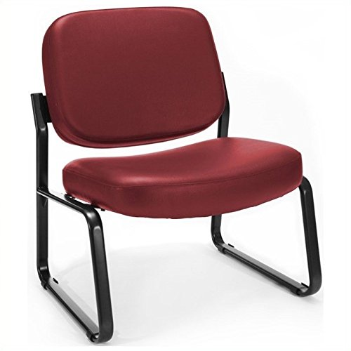 Wine Vinyl Armless Reception Chair - Scranton & Co Big and Tall Reception Vinyl Armless Guest Chair in Wine
