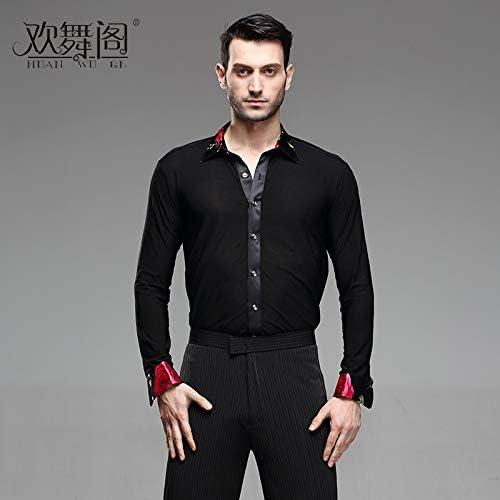 RSS Camisas de la práctica de los Hombres de Manga Larga GB Adultos Plaza de salón de Baile Latino Camisa del Traje (Size : M): Amazon.es: Hogar
