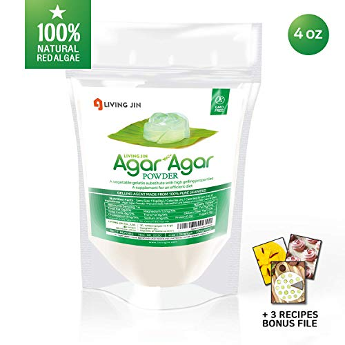 (Agar Agar Powder: Vegetable Gelatin 100% from Red Algae, Dietary Fiber Thickener | Vegan, Vegetarian, Non-GMO, Gluten-free, Kosher, Halal | Desserts, Snacks for Kids and Pets | LIVING JIN [4/12/28oz])