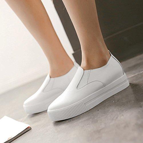 Zapatillas Bungee Con Tacón Plano Y Plataforma Shine Mujeres Fashion Platform En Blanco