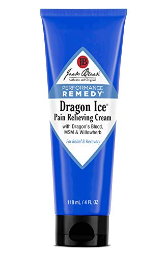 JACK BLACK  Dragon Ice Pain-Relieving Cream  Performance-Remedy Product, Topical, Non-Greasy Pain Relief, Botanical Ingredients, Dragons Blood, Willowherb Extract, Ginger Root Extract, 4 oz.