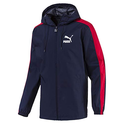 Puma Windbreaker Jacket - PUMA Mens Jacket Classic Logo Windbreaker Hooded Rain Jacket Navy/Red 576349 New (X-Large)