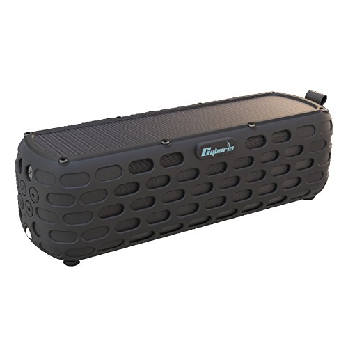 Solar Bluetooth Speaker,CYBORIS ES-T63 2nd Generation Upgraded 30 Hours Playtime Portable Solar Powered Wireless HiFi Speaker for Outdoors with Built-in Mic and Shockproof & Splashproof-Black
