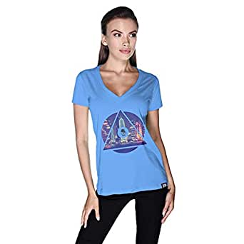 Creo Doha T-Shirt For Women - L, Blue
