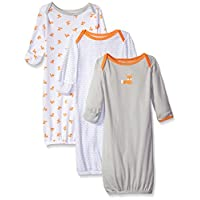 Luvable Friends Unisex 3 Pack Cotton Gown, Grey/Orange Fox, 0-6 Months