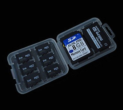 3 Pack - 8 in 1 Micro SD TF MS SD SDHC Memory Card Storage Holder Box Plastic Portable Jewel Case w/Everything But Stromboli Microfiber Cleaning Contact Cleaning Cloth