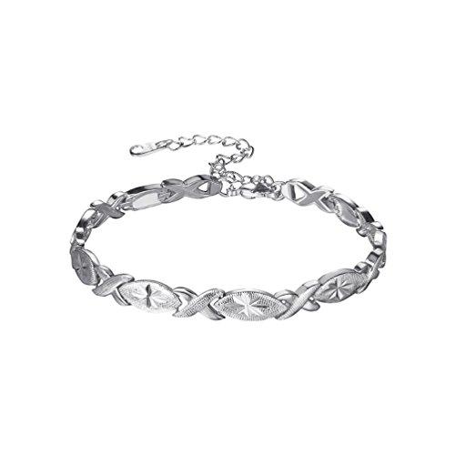 U7 Lady Solid Bangle Platinum Plated Flower Pattern Oval Waterdrop & Infinity Link Bracelet, Fit Wrist 7.5-9.5 Inch by U7
