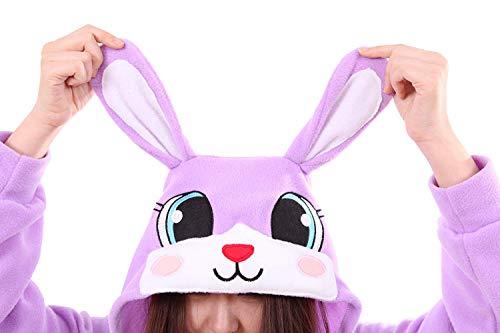 Unisex Adult Pajamas-Plush Onesies Bunny Pajamas Animal One Piece Cosplay Halloween Xmas Costume for Adults(Purple S) ()