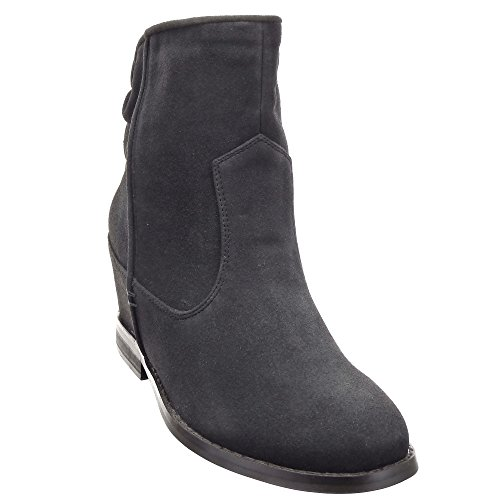 Sopily - Scarpe da Moda Stivaletti - Scarponcini Low boots alla caviglia donna Tacco zeppa 7 CM - soletta tessuto - Nero