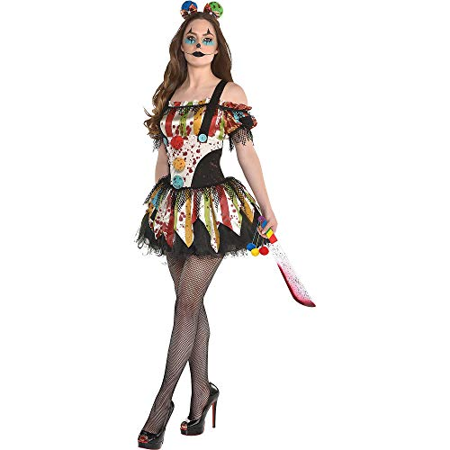 Sexiest Scary Costumes - amscan Bloody Clown Halloween Dress for Women, Multicolor,