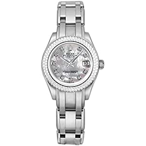 Best Epic Trends 41ETOQuIrvL._SS300_ Rolex Pearlmaster Mother of Pearl Diamond Dial Women's Watch 81339