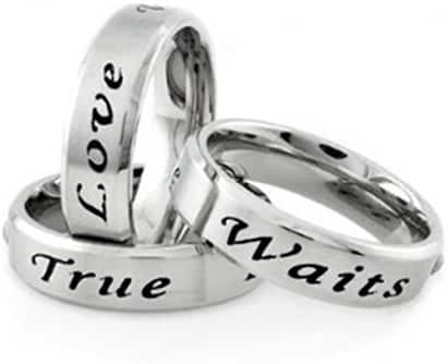 True Love Waits CZ Ring / Commitment Promise Ring. Steel Womens Rings. Purity Commitment Rings for women rings