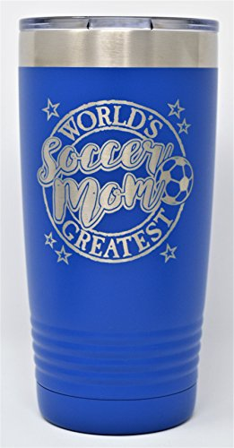 "GIFT FOR SOCCER MOM – Engraved ""World's Greatest Soccer Mom"" Stainless Steel Tumbler Vacuum Insulated Large Travel Coffee Mug Hot & Cold Drinks Mothers Day Christmas Birthday (Royal Blue, 20oz) by GK Grand Personal-Touch Premium Creations"