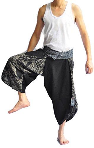 Hot Thai Fisherman Pants Japanese Style Pants One Size Black fish design hot sale