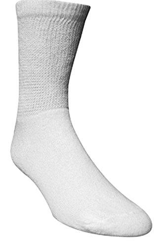 Diabetic Crew Length Socks Men, Size 13-15, X-Large, White
