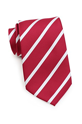 Bows-N-Ties Men's Necktie Classic Repp Stripe Microfiber Matte Tie 3.25 Inches (Bright Red and White) ()