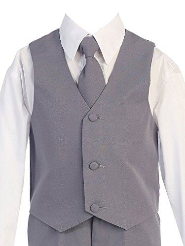 iGirlDress Boys Formal Dress Suit with Shirt and Vest Gray 12 by iGirldress (Image #2)