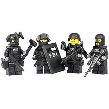 10pc FBI SWAT Military Vest Armor Army Mini Weapons Building Blocks Fits Figures