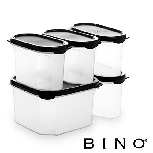- BINO 10-Piece Airtight Stackable Kitchen Storage Container Pantry Set, Black