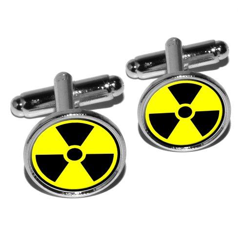 Symbol Silver Cufflinks (Radioactive Nuclear Warning Symbol Round Cufflink Set - Silver)