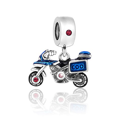 JOYOTO Men's Motorcycles 925 Sterling Silver Red Cubic-Zirconia Blue Enamel Pendant Bead,Travel series Charms
