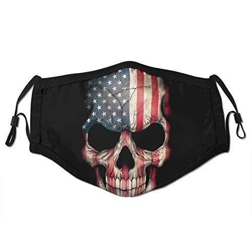 Dark American Flag Skull Mans Women's Dust Masks Outdoor Adjustable Earrings Face Mask Reusable with More Filter Black