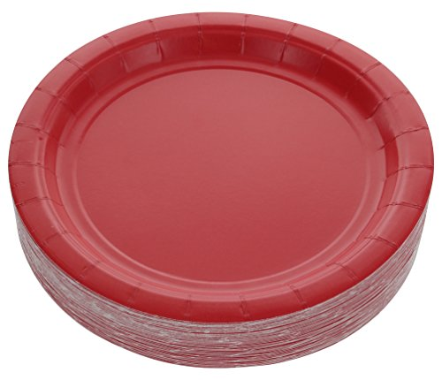 "Amcrate Red Disposable Party Paper Dessert Plates 7"" - Ideal for Weddings, Party"