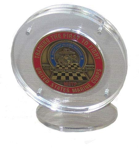 1.75 Challenge Coin Display Holder Case with Stand, Clear Acrylic, Magnetic Fasteners (Round Stand)
