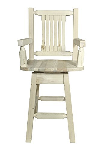 Montana Woodworks MWHCBSWSCAS Homestead Collection Captain's Barstool with Back & Swivel, Ready to Finish
