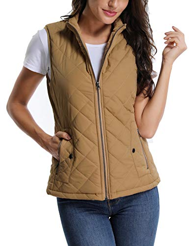 MISS MOLY Women's Stand Collar Lightweight Padded Zip up Sleeveless Vest Warm in Winter Quilted Gilets Camel Large