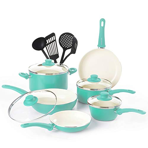GreenLife CW000531-002 Soft Grip Absolutely Toxin-Free Healthy Ceramic Nonstick Dishwasher Oven Safe Stay Cool Handle Cookware Set, 14-Piece, Turquoise Renewed