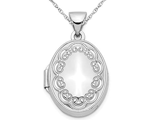 14K White Gold 17mm Oval Locket with Border and Chain