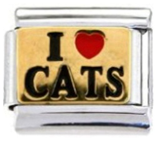 Stylysh Charms CAT Lover I Love Cats Enamel Italian 9mm Link CA001 ()