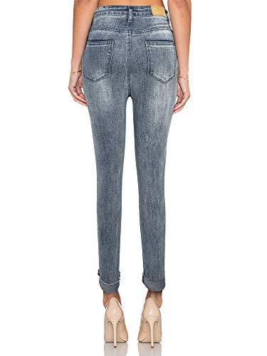 Taille Pants Stretch KT Pantalon Gris Dchir SUPPLY Skinny Dlavage Effet Denim Haute en Jean Fonc 8Wrx8nSPH