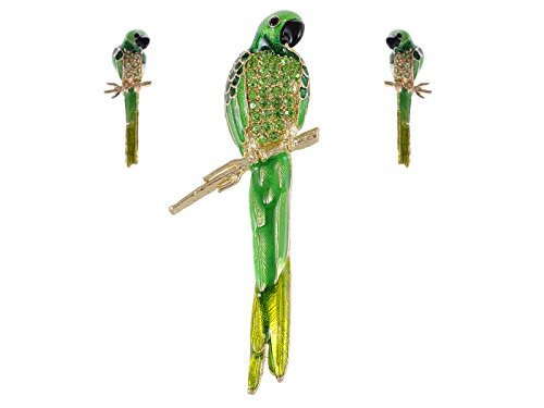Alilang Golden Tone Light Green Rhinestones Bird Parrot Brooch Pin Stud Earrings Set