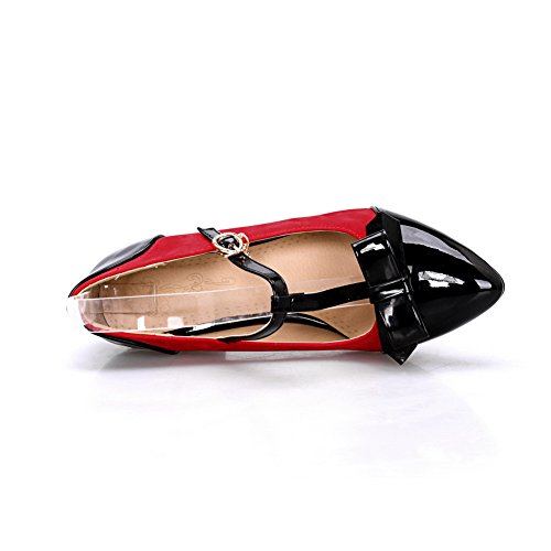 Red Resistant Pumps Soft T Heels Strap Material Shoes Slip Kitten Ladies BalaMasa E7wfzqEP