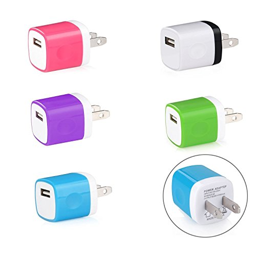 Wall Charger, 5 Pack Universal Portable USB Power Adapter Plug Outlet for iPhone 7 / 6S / Plus, iPad, Samsung Galaxy, Motorola, HTC, Other Smartphones (Family Pack) (Random Colors) Photo #5