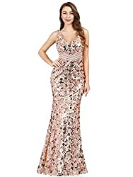 Double V-Neck Sequined Maxi Dress