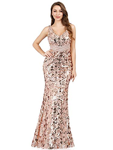 Women's Sequin Maxi Evening Party Dress Mermaid Gown Prom Dress Rose Gold US6